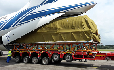 Launch Vehicle Arrives at Europe's Spaceport Onboard Volga-Dnepr IL-76TD-90VD Freighter